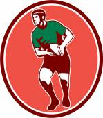 Rugby Player Running Passing Ball Retro — Stock Vector