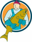 Fishmonger Salmon Fish Circle Cartoon — Stock Vector