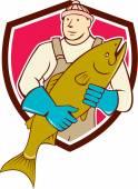 Fishmonger Holding Salmon Fish Shield Cartoon — Stock Vector