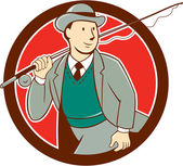 Vintage Fly Fisherman Bowler Hat Cartoon — Stock Vector