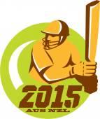 Cricket 2015 Australia New Zealand Circle — Stockvektor