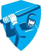 Kriket hráč pálkař pálku štít Retro — Stock vektor