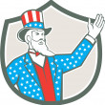 Uncle Sam American Hand Up Shield Retro — Stock Vector #63514713