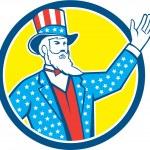 Uncle Sam American Hand Up Circle Retro — Stock Vector #63514733
