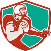 American Football Player Angry Shield Retro — Vetor de Stock