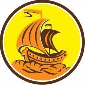 Sailing Galleon Ship Circle Retro — Stock Vector