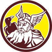 Norse God Odin Raven Circle  — Stock Vector