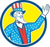 Uncle Sam American Hand Up Circle Retro — Stock Vector