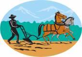 Farmer and Horses Plowing Field Cartoon — Stock Vector
