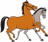 Two Horses Prancing Side Cartoon — Stock Vector