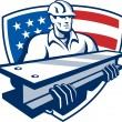 Construction Steel Worker I-Beam American Flag — Stock Vector #63708433