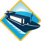 Container ship diamond retro — Stock Vector