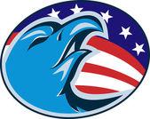 Bald eagle american stars and stripes flag — Vector de stock