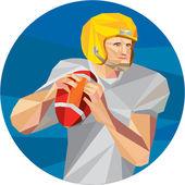 American Football Quarterback QB Low Polygon — Stock Vector