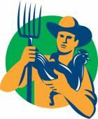 Organic Farmer Pitchfork Chicken Retro — Vector de stock