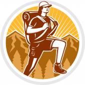 Female Hiker Hiking Mountain Circle Retro — Stock Vector