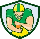 American Football Running Back Shield Cartoon — Stock Vector