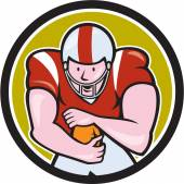 American Football Running Back Circle Cartoon — Stock Vector