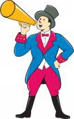 Circus Ringmaster Bullhorn Standing Cartoon — Stock Vector