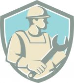Construction Worker Spanner Shield Cartoon — Stock Vector
