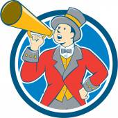 Circus Ringmaster Bullhorn Circle Cartoon — Stock Vector