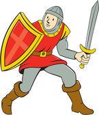 Medieval Knight Shield Sword Standing Cartoon — Stock Vector