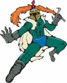 Knight Wield Fiery Sword Cartoon — Stok Vektör