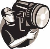 Film crew with spotlight fresnel light — Stock Vector