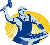 Blacksmith Farrier With Hammer Horseshoe Retro — Stock Vector