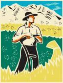 Farmer Standing With Scythe Field Woodcut — Stock Vector