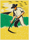 Farmer With Scythe Harvesting  Field Retro — Stock Vector