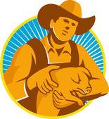 Pig Farmer Holding Piglet Front Retro — Stock Vector