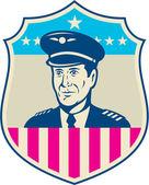 American Airline Pilot Aviator USA Flag Shield Retro — Stock Vector