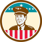 Airline Pilot Aviator USA Flag Circle Retro — Stock Vector