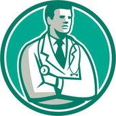 Doctor Stethoscope Standing Circle Retro — Stock Vector