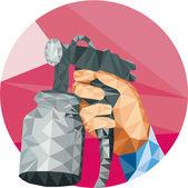 Hand Spray Paint Gun Spraying Low Polygon — Stock Vector