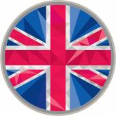 Union Jack UK GB Flag Circle Low Polygon — Stock Vector