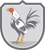 Cockerel Rooster Standing Shield Retro — Stock Vector
