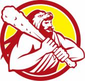 Hercules Lion Skin Wield Club Circle Retro — Stock Vector