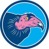 Vulture Head Circle Retro — Stock Vector