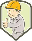 Builder Construction Worker Thumbs Up Shield Cartoon — Stock Vector