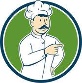 Bigode de cozinheiro chef apontando o círculo dos desenhos animados — Vetor de Stock