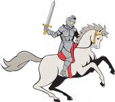 Knight Riding Horse Sword Cartoon — Stock Vector