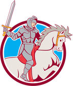 Knight Riding Horse Sword Circle Cartoon — Stock Vector