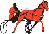 Harness horse cart racing — Stock Vector
