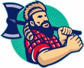 Lumberjack With Axe — Stock Vector