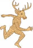 Half Man Half Deer With Tattoos — Stock Vector