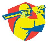 Cricket Player Batsman Batting Shield Retro — Stock Vector