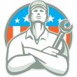Mechanic Arms Crossed in USA Flag — 图库矢量图片 #66261451