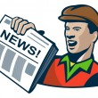 Постер, плакат: Newsboy Newspaper Delivery Retro